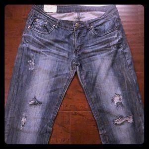 🔵Blue Denim Distressed Dark Wash Jeans